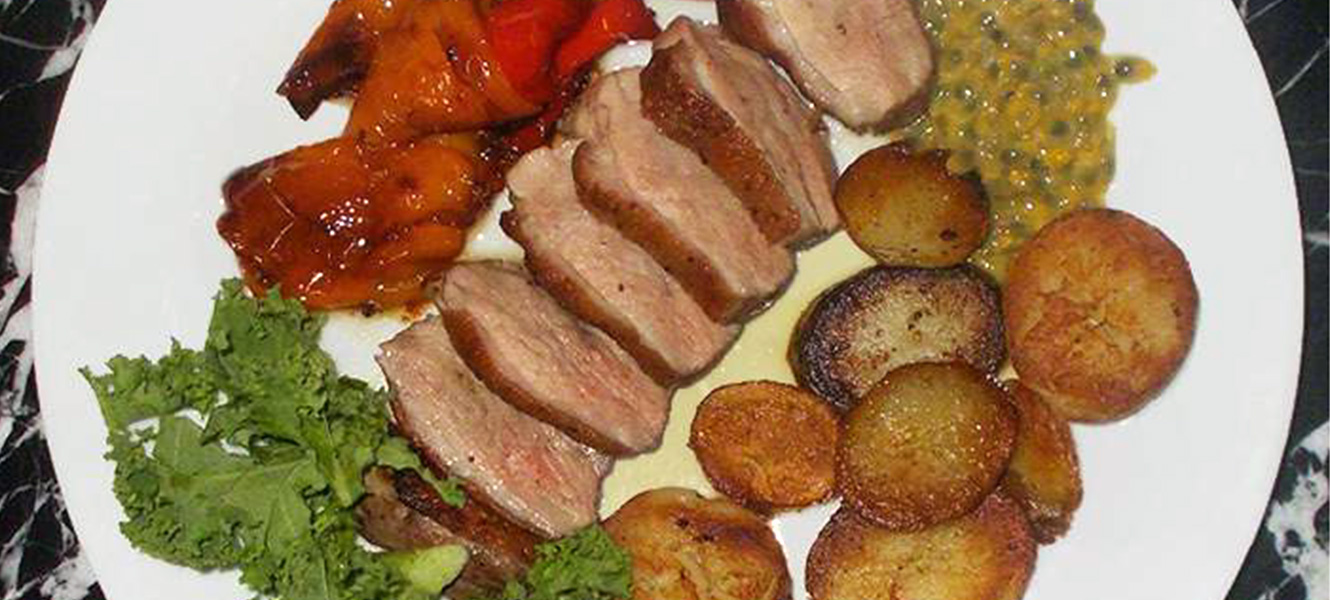 Magret de canard and roast peppers recipe